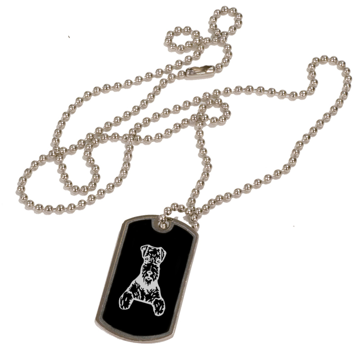 Personalized black and silver dog tag necklace with custom engraved terrier dog design.