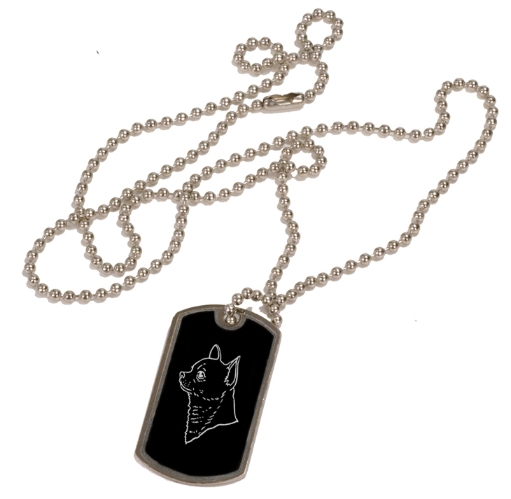 Personalized black and silver dog tag necklace with custom engraved toy dog design.