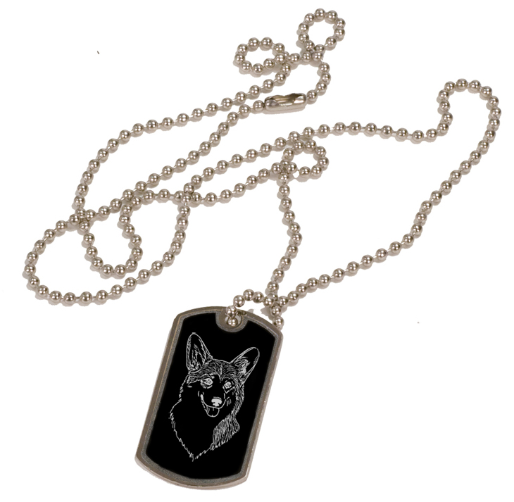 Personalized black and silver dog tag necklace with custom engraved Welsh Corgi dog design.
