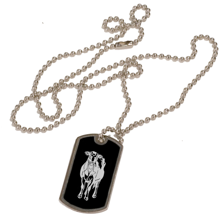 Personalized black and silver dog tag necklace with custom engraved farm animal design.