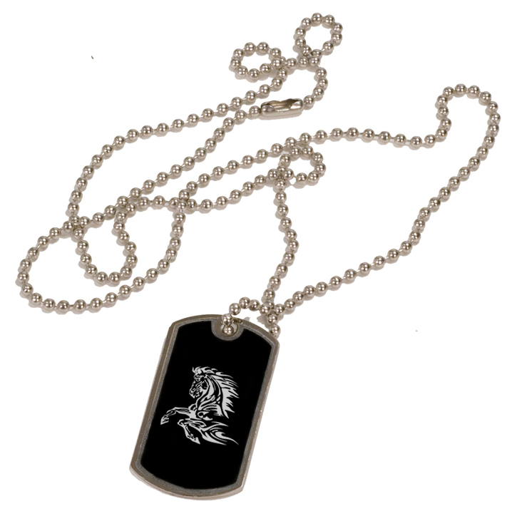 Personalized black and silver dog tag necklace with custom engraved horse design 2.