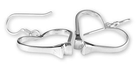 Horseshoe nail heart sterling silver equestrian jewelry earrings. Made in the USA