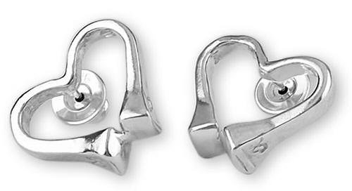 Horseshoe nail heart sterling silver equestrian jewelry post earrings. Made in the USA