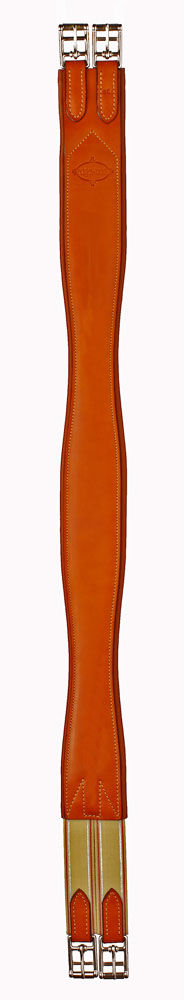Plain leather Edgewood horse girth with one side of elastic.