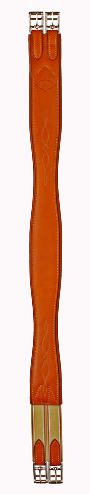 Fancy stitched leather Edgewood horse girth with one side of elastic.