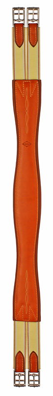 Edgewood Fancy Stitched Double End Elastic Leather Horse Girth - Size 50