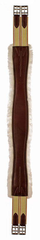 Fancy stitched leather Edgewood sheepskin and leather horse girth with two ends of elastic.