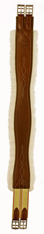 Fancy stitched leather Edgewood sheepskin and leather horse girth with one end of elastic.