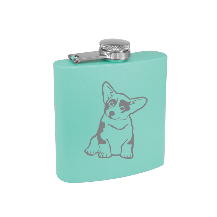 Personalized flask with an engraved Corgi design and custom text.