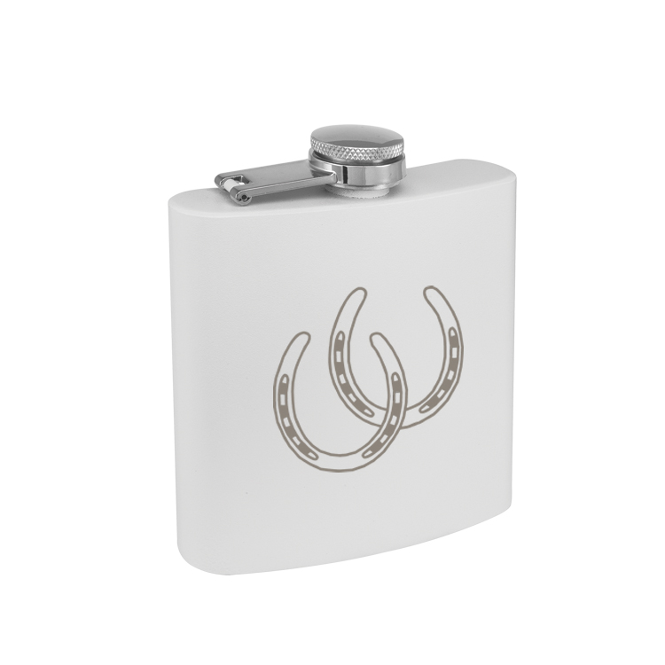 Colored Stainless Steel Engraved Flask with Horse Design 2