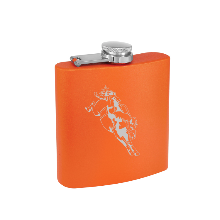 Custom engraved 6 oz colored stainless steel flask with engraved rodeo design of your choice.