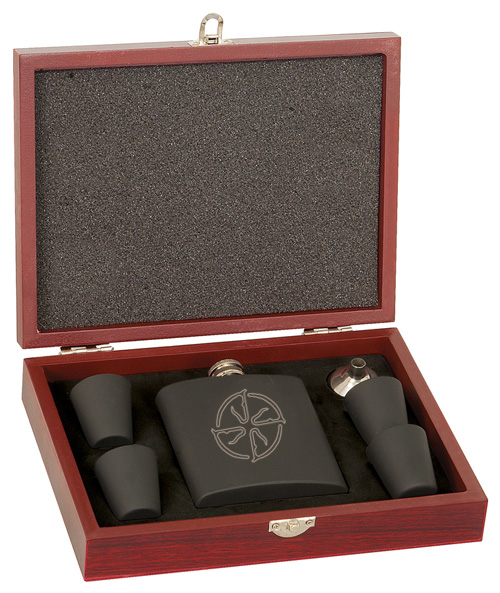 Personalized wood presentation box with stainless steel flask gift set with custom engraved text and horse breed logo.
