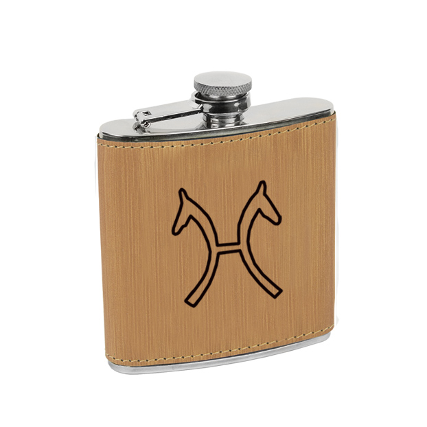 Leatherette wrapped stainless steel flask with personalized text and custom horse breed logo.