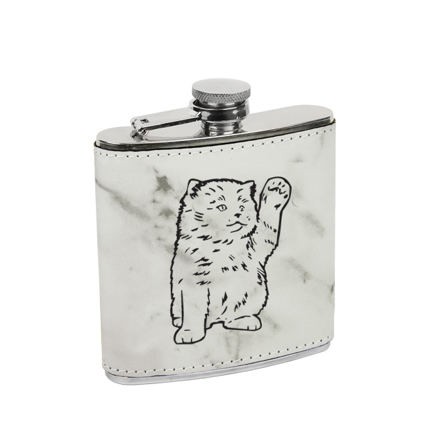 Leatherette & stainless steel custom engraved cat design flask.