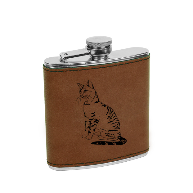 Leatherette & stainless steel custom engraved cat design 2 flask.