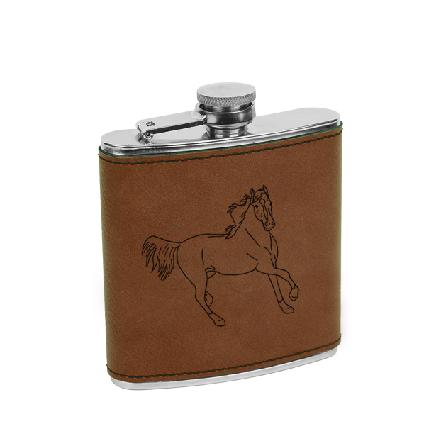 Leatherette wrapped stainless steel flask with personalized text and custom horse design.