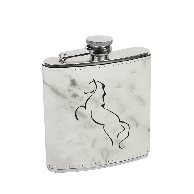 Leatherette wrapped stainless steel flask with personalized text and custom horse design 2.