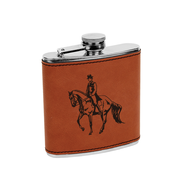 Custom engraved leatherette wrap stainless steel flask with horse design 3 and engraved text.
