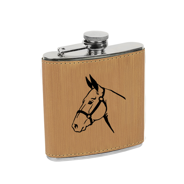 Leatherette wrapped stainless steel flask with personalized text and custom horse design 6.