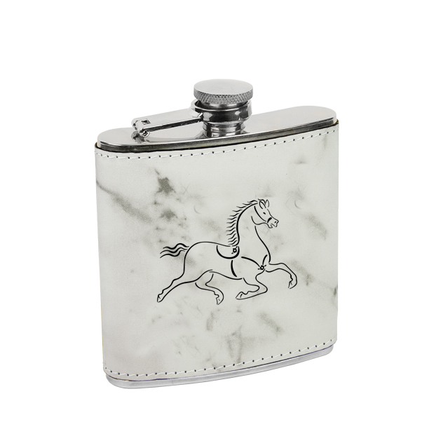 Leatherette wrapped stainless steel flask with personalized text and custom horse design 7.