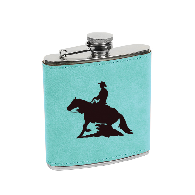 Leatherette wrapped stainless steel flask with personalized text and custom rodeo design.