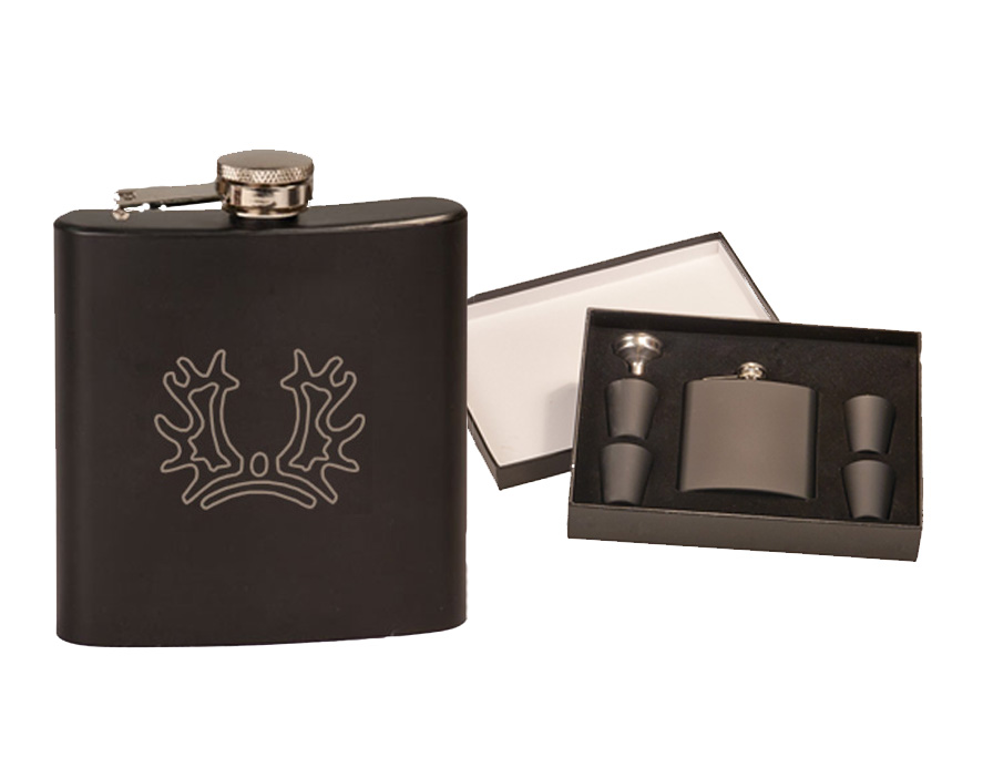 Colored Stainless Steel Engraved Flask with Horse Breed Logo