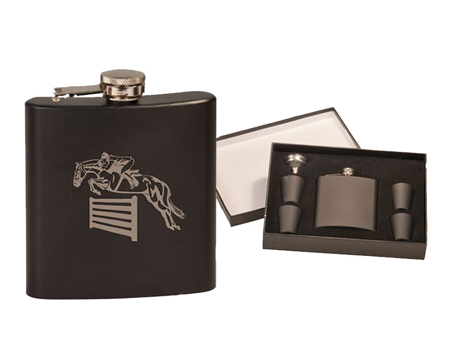 Colored stainless steel flask set with custom engraved horse design 3 and personalized text.