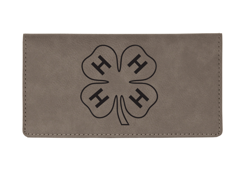 Custom engraved leatherette checkbook cover with 4-H logo and custom text.