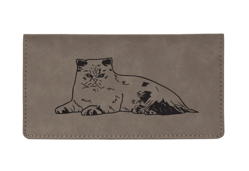 Custom engraved leatherette checkbook cover with cat design 2 and custom text.