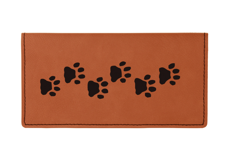 Custom engraved leatherette checkbook cover with dog design and custom text.