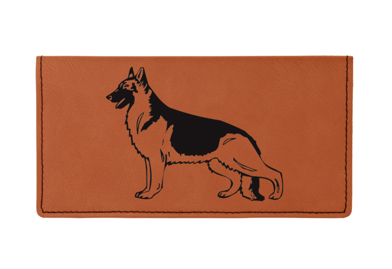 Custom engraved leatherette checkbook cover with dog design 3 and custom text.