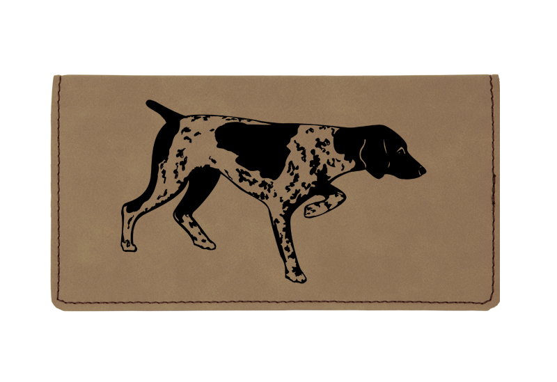Custom engraved leatherette checkbook cover with dog design 6 and custom text.