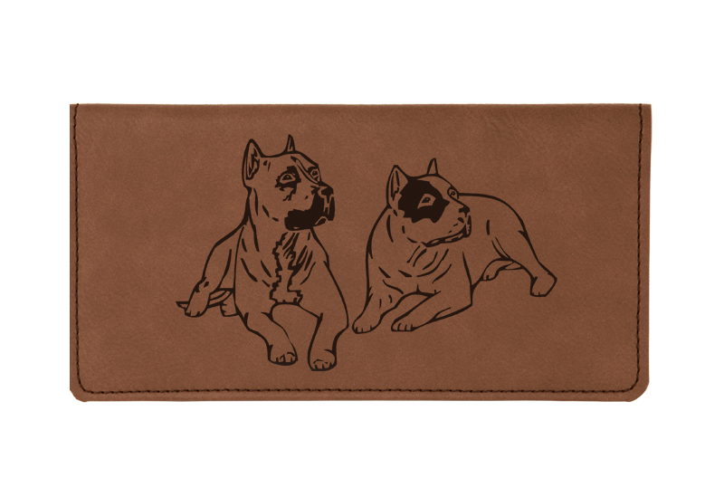 Custom engraved leatherette checkbook cover with dog design 7 and custom text.