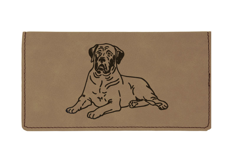 Custom engraved leatherette checkbook cover with dog design 9 and custom text.