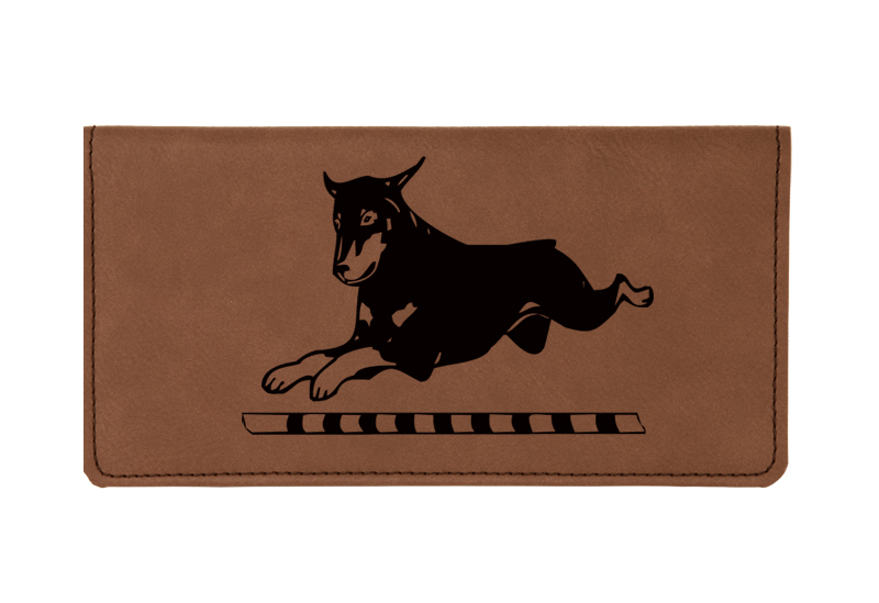 Custom engraved leatherette checkbook cover with Doberman design and custom text.