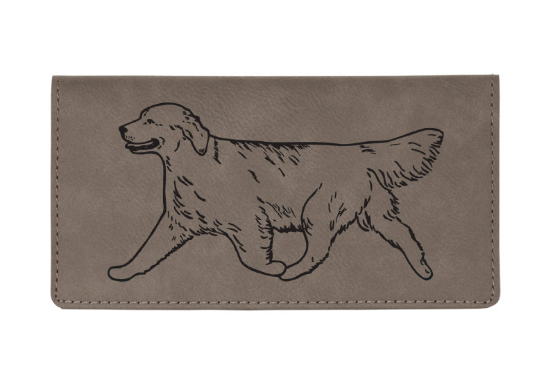 Custom engraved leatherette checkbook cover with Golden Retriever dog design and custom text.
