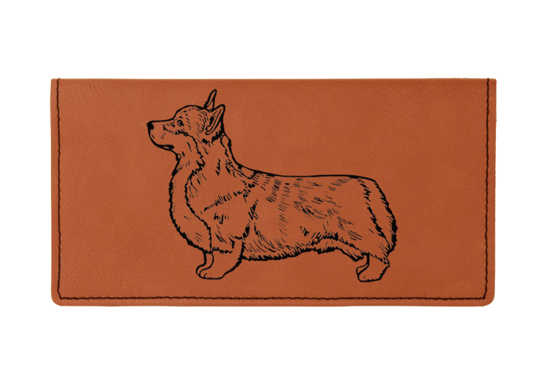 Custom engraved leatherette checkbook cover with Welsh Corgi dog design and custom text.