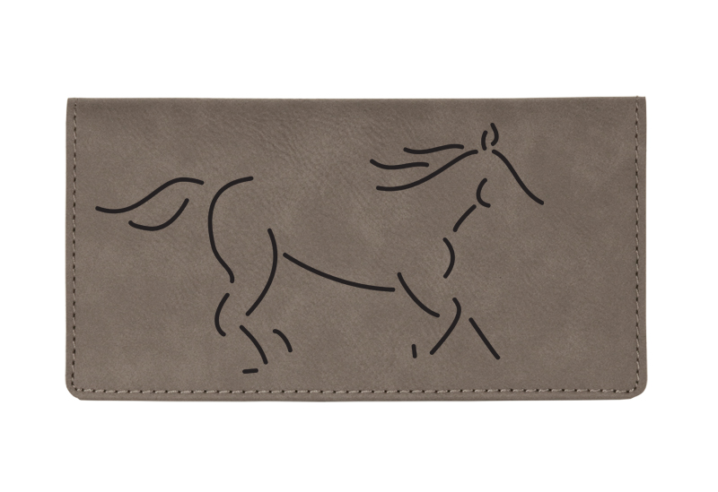 Custom engraved leatherette checkbook cover with horse design 2 and custom text.