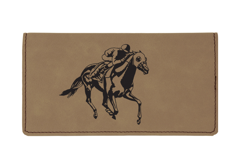 Custom engraved leatherette checkbook cover with horse design 3 and custom text.