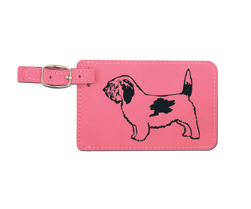 Leatherette engraved luggage tag with hound dog design.