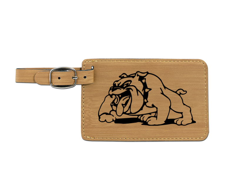 Leatherette engraved luggage tag with non-sporting dog design.