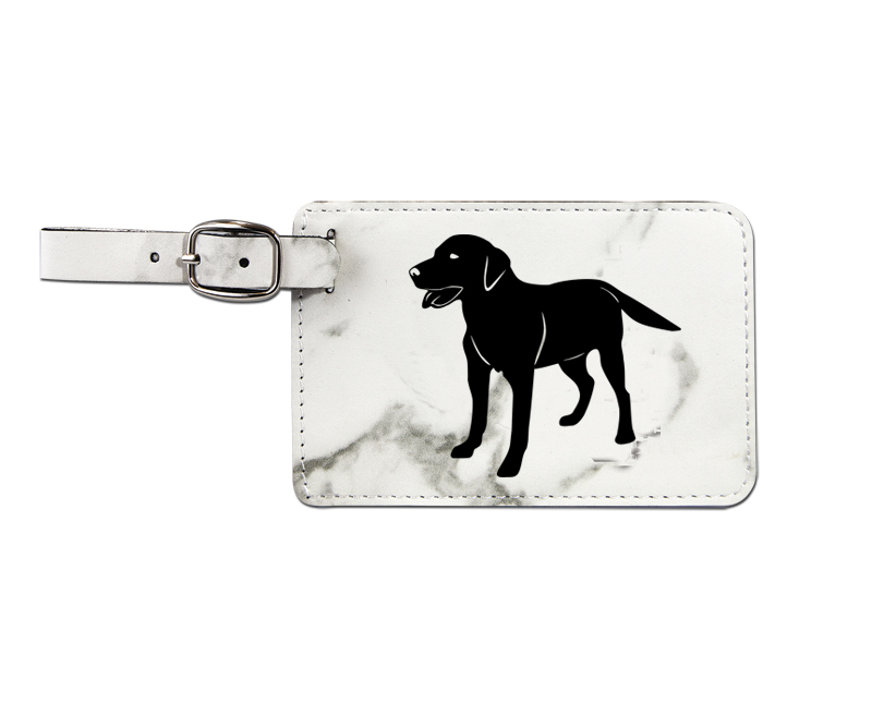 Leatherette engraved luggage tag with sporting dog design.