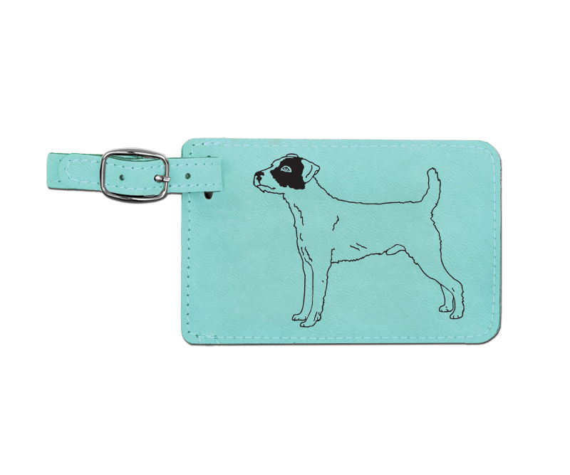 Leatherette engraved luggage tag with terrier dog design.
