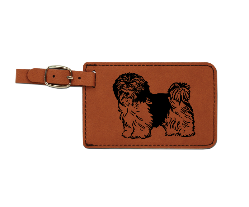 Leatherette engraved luggage tag with toy dog design.
