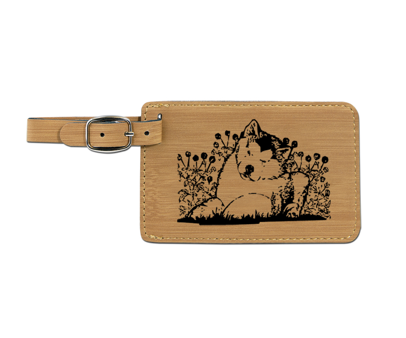 Leatherette engraved luggage tag with working dog design.