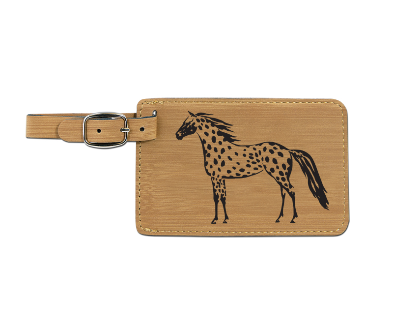 Leatherette engraved luggage tag with horse design 6.