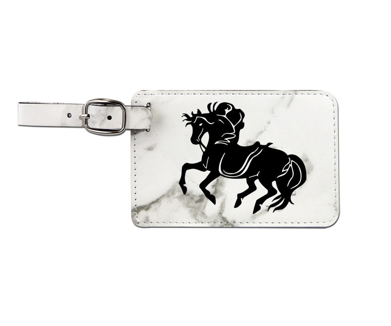Leatherette engraved luggage tag with horse design 7.