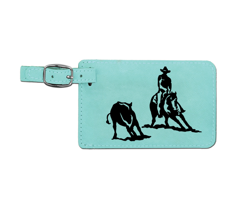 Leatherette engraved luggage tag with rodeo design.