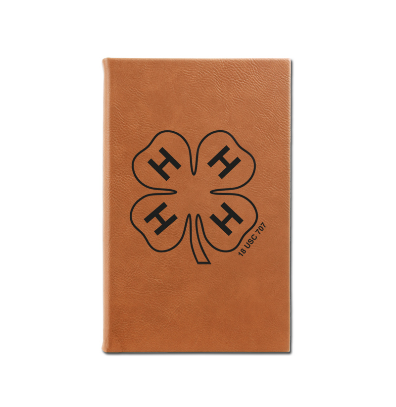 Personalized leatherette journal with custom engraved 4-H logo and text.