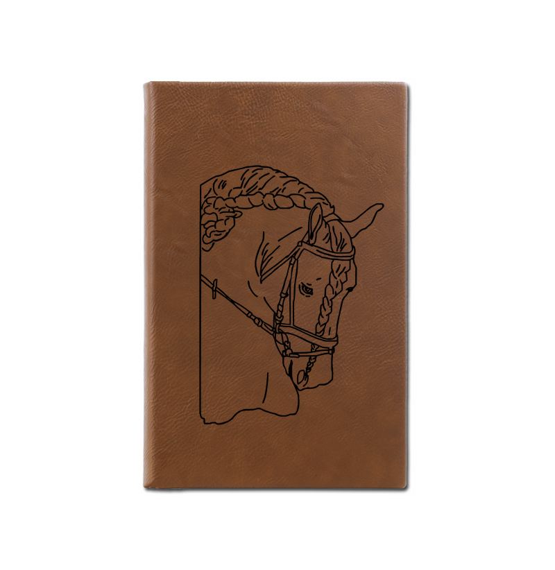 Personalized leatherette journal with custom engraved horse design and text.